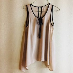 Flowy chiffon tank/blouse with front bow tie